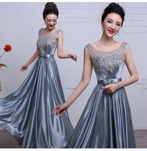 Silver gray satin fabric lace rhinestones A line women's ladies female fashion bandage back long length wedding party bridesmaid wedding party evening dresses gown vestidos
