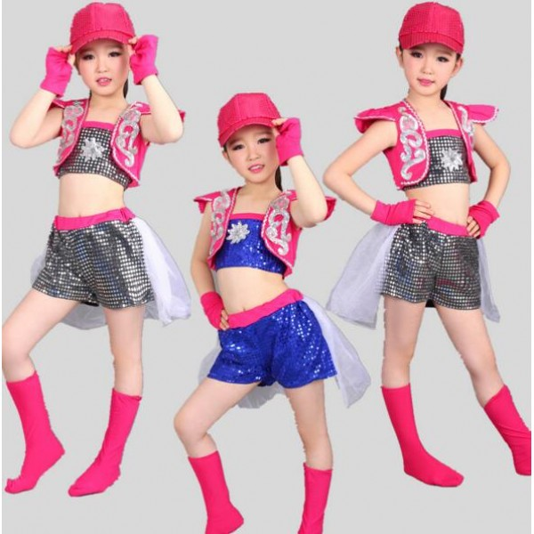 Silver Hot Pink Fuchsia Patchwork Royal Blue Sequined Girls Kids