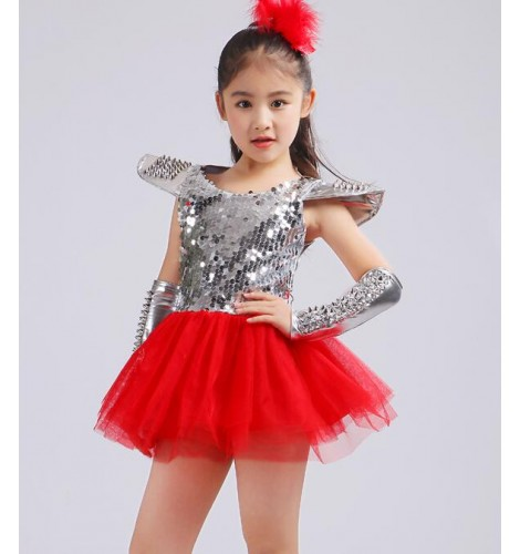 93e28e034 Silver red patchwork paillette competition stage performance girls ...