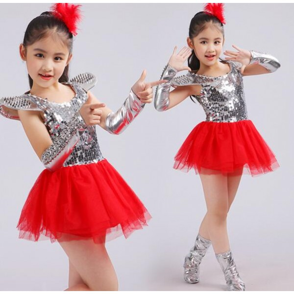 27163e816 Silver red patchwork paillette competition stage performance girls kids  child children toddlers growth jazz dance modern dance ds singer hip hop  dance ...
