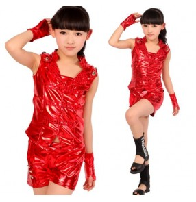 Silver red pu leather girls kids child children toddlers kindergarten modern dance jazz dance stage hip hop performance dance outfits sets costumes