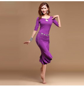 Silver violet wine red royal blue fuchsia colored women's ladies female short sleeves round neck ruffles irregular dress hem sexy belly dance dresses costumes( with diamond sashes)