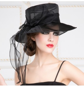 Sinamay white black Wedding Church Hat Formal Occasion Bridal Horse Races Hats for Women Kentucky Derby/Wedding/Spring/ Fedoras