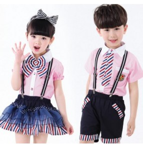 Striped England  light pink and navy patchwork style kindergarten girls kids children boys school uniforms cosplay modern dance chorus stage performance costumes clothes