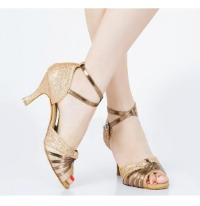 Tan bronze gold violet black colored women's ladies female competition professional paillette satin silk upper  with soft  genuine leather sole latin samba salsa cha cha tango waltz dance shoes sandals
