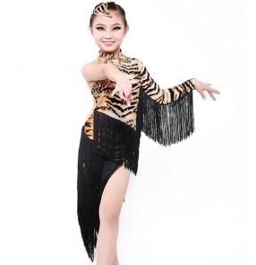 Tassel Tiger Latin dance dress for girls Dancewear Latin fringe dress ballroom dress flamenco