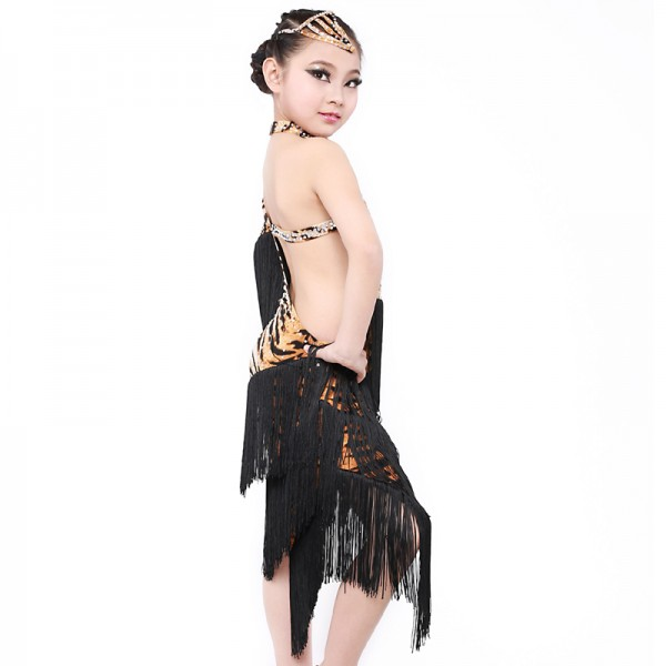 253356dec145 Tassel Tiger Latin dance dress for girls Dancewear Latin fringe ...