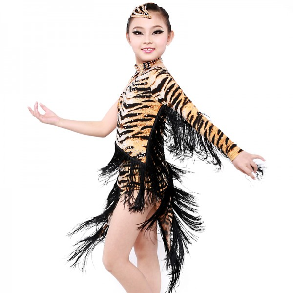 Tassel Tiger Latin Dance Dress Girls Dancewear Fringe Ballroom Flamenco