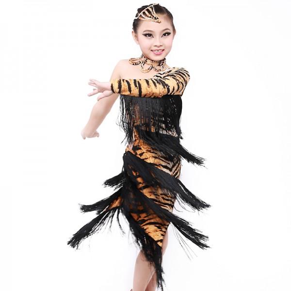 Tassel Tiger Latin dance dress for girls Dancewear Latin fringe ...