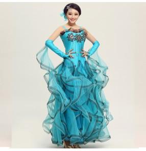 Turquoise Ballroom flamenco dresses beyonce costume waltz