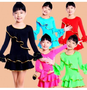 Turquoise black red neon green fuchsia colored girls kids child children toddlers gymnastics practice long sleeves latin ballroom dance dresses with inside shorts