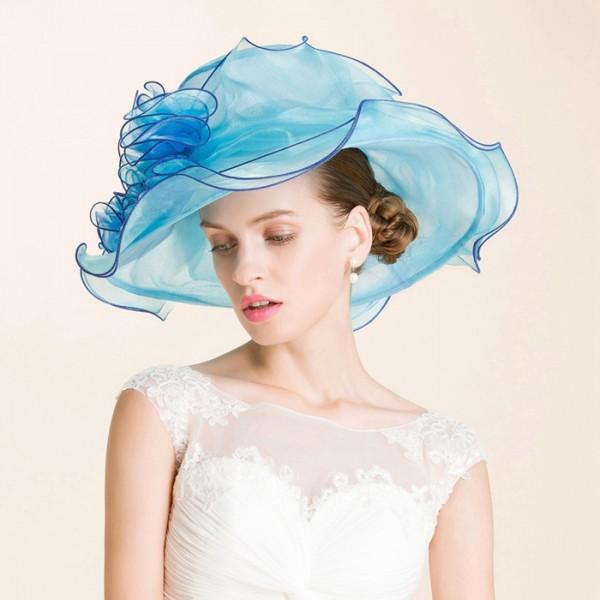 Turquoise blue light pink colored fashion womens women s ladies female  organza beach sun hats large brim church hats wedding party bridal fedoras  hats 03dbcd8eb80b
