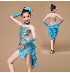 Turquoise light blue red sequined paillette backless girls kids child children baby toddlers growth fringe salsa cha cha latin samba rumba dance dresses with gloves