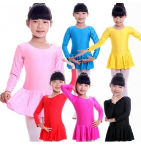 Turquoise light pink Red fuchsia yellow black girls kids child children toddlers growth baby long sleeves leotard skirt competition professional ballet tutu latin dance costumes dresses