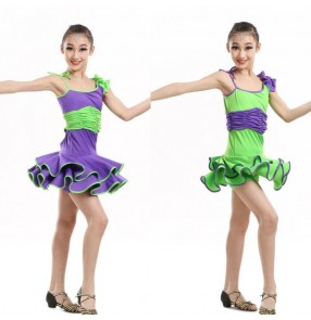 Turquoise neon green violet purple one shoulder girls children kids toddlers growth spring summer ruffles skirts practice latin salsa cha cha dance dresses