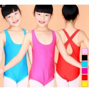 Turquoise pink black fuchsia sleeveless back belt cross vest tank  girls kids child children toddlers gymnastics practice ballet dance costumes leotard tops