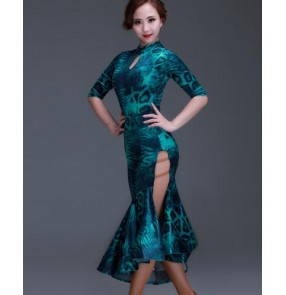 Turquoise printed leopard colored women's ladies female middle long sleeves turtle neck cheongsam leotard tops split set competition professional latin samba cha cha rumba dance dresses set
