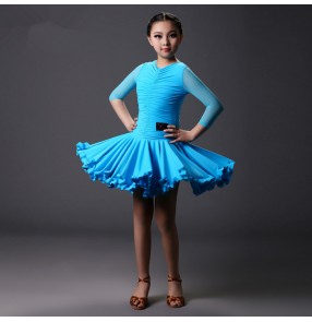 Turquoise red black short sleeves Girls kids child children middle long mesh sleeves swing hem skirts competition ballroom latin dance dresses