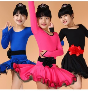 Turquoise royal blue black fuchsia neon green round neck girls kids child children toddlers competition professional practice latin samba ballroom dance dresses with leotard ruffles skirts with sashes