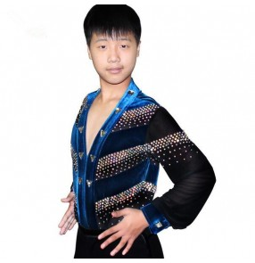 Turquoise royal blue black red patchwork rhinestones velvet   v neck long sleeves boys kids child children toddlers competition gymnastics professional practice latin ballroom dance dresses shirts tops