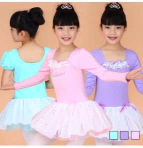 Turquoise violet pink colored girls kids children child toddlers long sleeves round neck competition professional tutu skirts gymnastics catsuit leotard practice ballet dance dresses