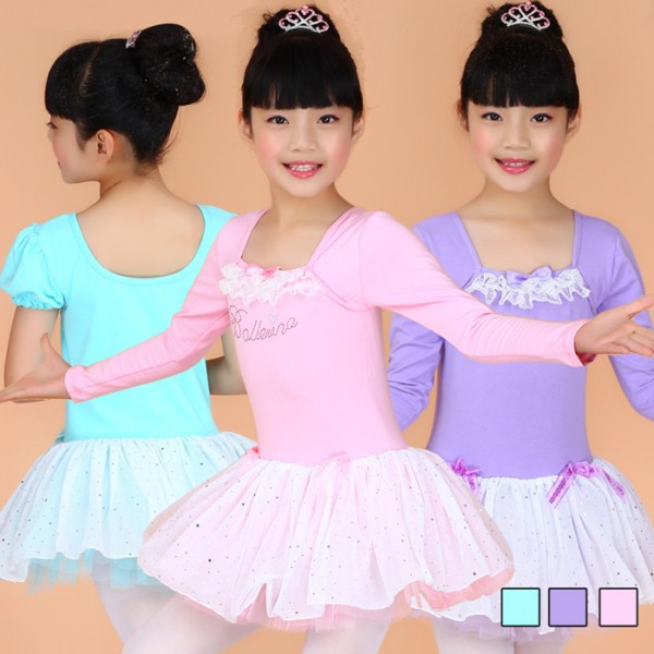 9a26d082cb567 Turquoise violet pink colored girls kids children child toddlers long sleeves  round neck competition professional tutu skirts gymnastics catsuit leotard  ...