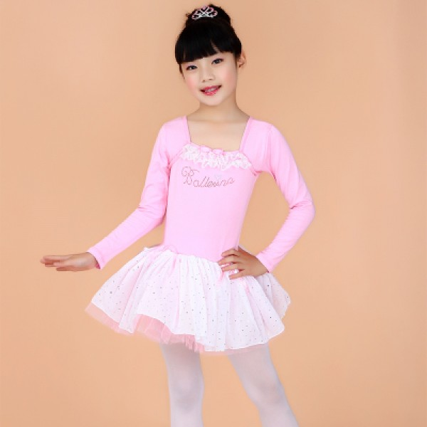 Turquoise Violet Pink Colored Girls Kids Children Child Toddlers Long Sleeves Round Neck Competition Professional Tutu Skirts Gymnastics Catsuit Leotard