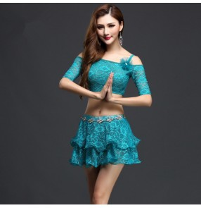 Turquoise white coral lace colored dew shoulder womens ladies women's competition professional practice indian belly dance costumes dresses  split set tops and skirt with diamond chain