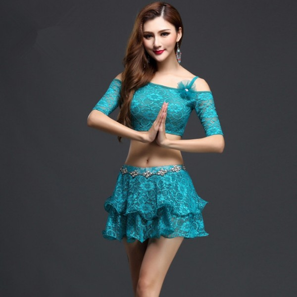 e5dbb32771e Turquoise white coral lace colored dew shoulder womens ladies women's  competition professional practice indian belly dance costumes dresses split  set tops ...