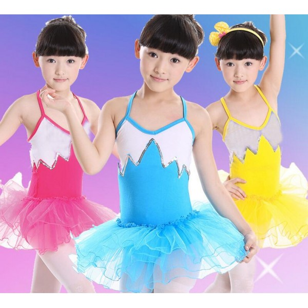 43b027ed2a4d4 Turquoise yellow fuchsia Girls kids children toddlers Sleeveless tutu  skirts backless ballet swan lake dance costumes leotard practice gymnastics  ...