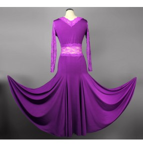 V collar one-piece dress long-sleeve Ballroom dancing dress