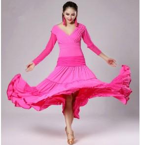 V neck long length skirted  ballroom dance dress