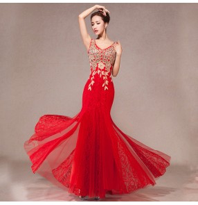 V neck red Mermaid Royal red lace Long Evening Dress Rhinestone Prom Dresses