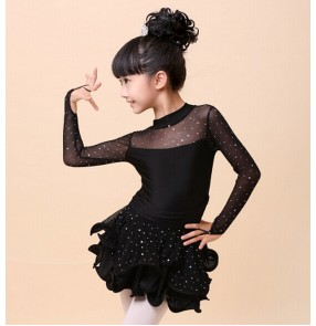 Velvet Shiny Paillette Girl Latin Dance Dress