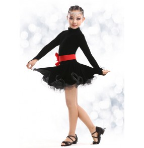 Velvet Shiny Paillette Girl Latin Dance Dress Salsa Dresses