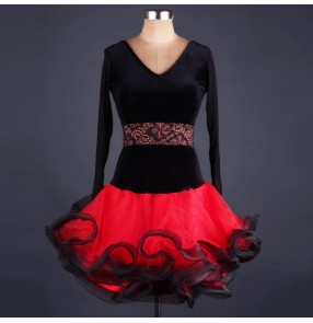 Velvet  with lace long sleeves v neck black and red patchwork competition women's ladies female professional performance ballroom latin dance dresses costumes outfits