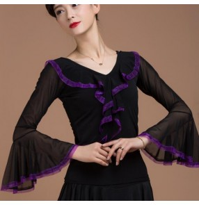 Violet black patchwork women's Ladies female long  v ruffles neck loose cuffs sleeves competition professional latin ballroom tango waltz dance tops only