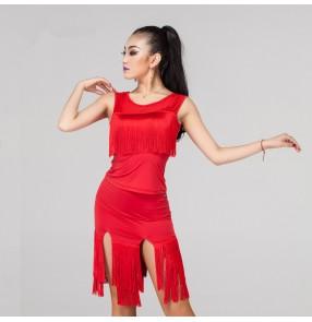violet black red Women's ladies female tassels skirt hem sleeveless competition latin samba salsa cha cha rumba dance dresses split set