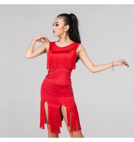 95d05c6ee4362 violet black red Women's ladies female tassels skirt hem sleeveless  competition latin samba salsa cha cha rumba dance dresses split set