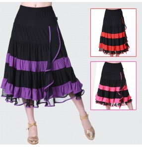Violet fuchsia red black striped patchwork colored women's ladies female competition exercises latin dance skirts samba salsa cha cha dance skirts