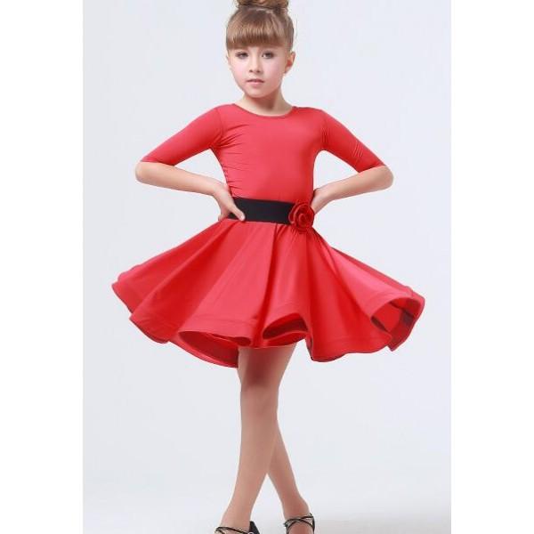 Violet fuchsia red neon green Girls kids children middle long sleeves  ballroom dance dresses latin dance dresses 110-160cm 4cd6ded505b7
