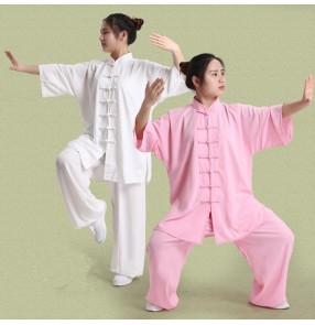 Violet gray silver purple light pink ivory yellow linen material short sleeves women's ladies female performance chinese folk style  performance short sleeves kung fu  sports martial dance costumes oufits