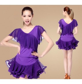 Violet purple black red fuchsia  royal blue sleeveless womens women's ladies female Paillette ruffles skirts tops short sleeveless exercises gymnastics latin samba salsa cha cha dance dresses split set
