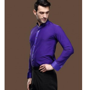 Violet purple colored mens men's male man long sleeves stand collar competition professional ballroom waltz tango jive latin dane shirts tops