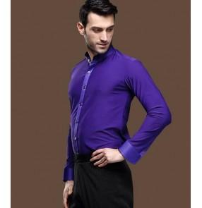 Violet purple colored mens men's male man long sleeves stand collar competition professional ballroom waltz tango jive latin dane shirts tops
