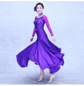 Violet purple fuchsia black red turquoise diamond long sleeves round neck competition practice professional ballroom waltz tango dance dresses