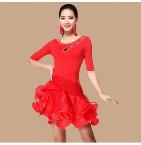 Violet purple red fuchsia royal blue short sleeves rhinestones diamond women's ladies female short sleeves spring summer ruffles skirts competition professional latin samba salsa cha cha dance dresses