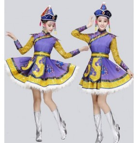 Violet purple yellow gold patchwork feather women's ladies female cos play Mongolian folk performance dancing outfits costumes dresses