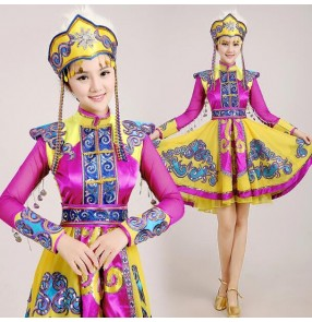 Violet yellow gold satin long sleeves patchwork stage performance monority mongolian russian women's ladies female competition cos play party dancing outfits costumes
