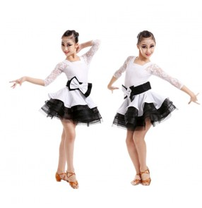 White and black patchwork colored girls kids child children baby short sleeves lace boat neck ruffles swing skirt  competition professional latin dance dresses with sashes